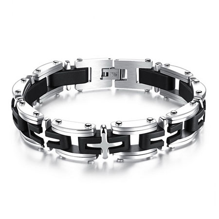 Contrast Black & White Cross Titanium Steel Bracelets for Men